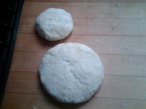 Work that crumbly dough into 1/3 and 2/3 discs and throw in the fridge.