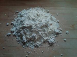 This is the final dough, with the frozen butter processed.  Note how crumbly it still is.
